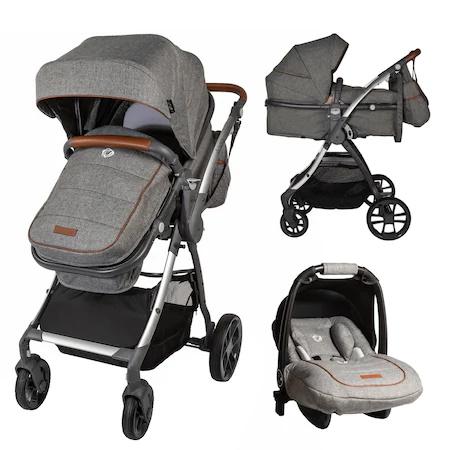 Детска количка 3 in 1 Coccolle Acero, Реверсивна, Сива