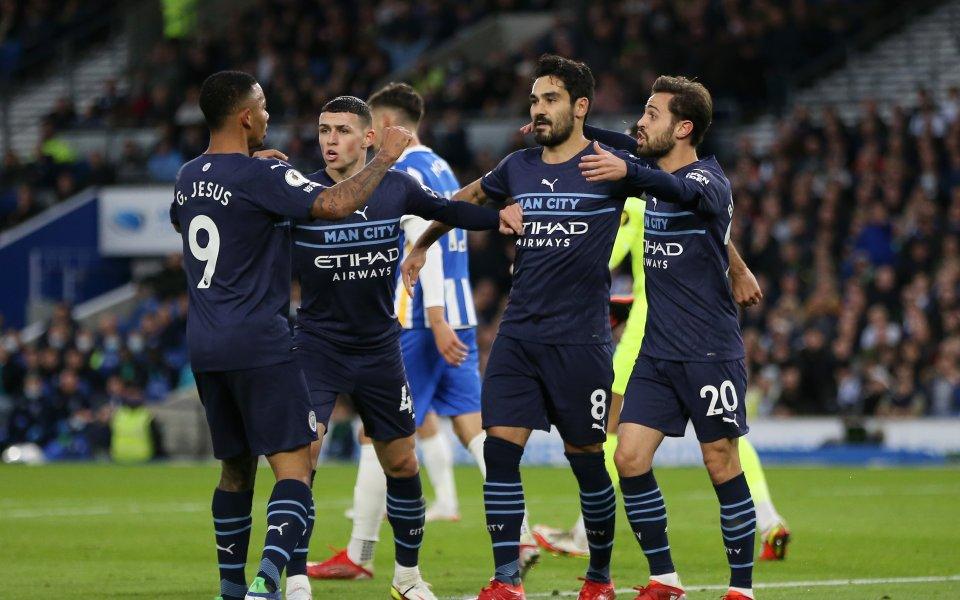 Отборите на Брайтън и Манчестър Сити играят при резултат 0:3