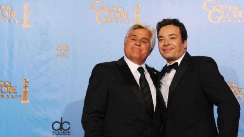"""Джей Лено и Джими Фалън на церемонията по раздаването на наградите """"Златен глобус"""", Лос Анджелис, 13 януари 2013 г."""