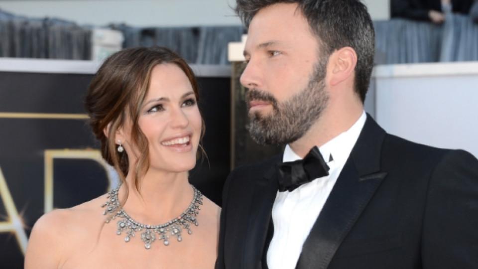 """Бен Афлек и неговата съпруга Дженифър Гарнър пристигат на церемонията по раздаването на наградите """"Оскар"""", Лос Анджелис, 24 февруари 2013 г."""