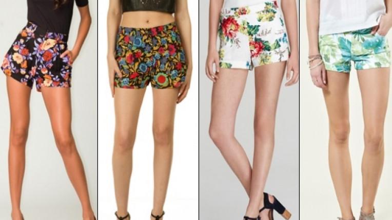 шорти пролетна мода комфорт къси панталонки флорален мотив принт плат