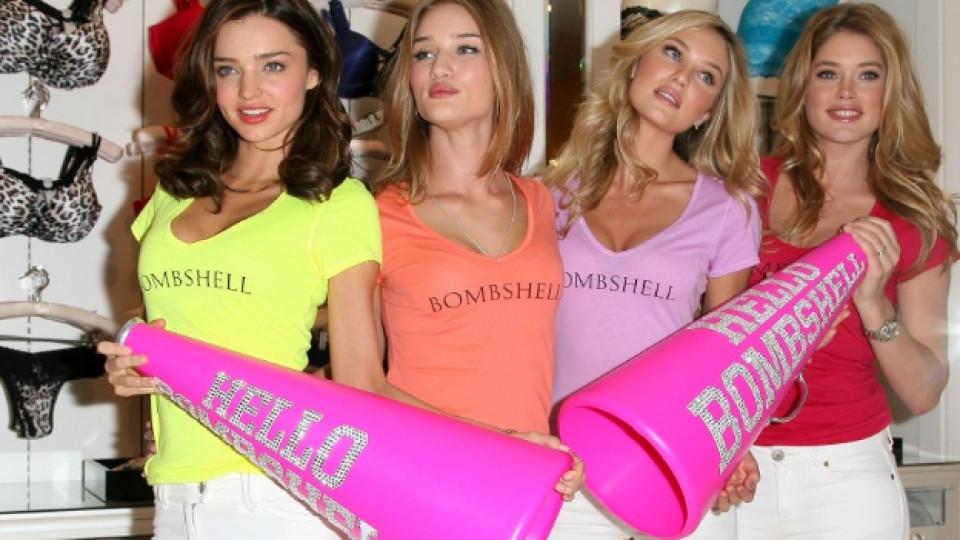 """Едни от най-успешните модели на """"Victoria's Secret"""" - Миранда Кър, Роуз Хънтингтън Уайтли, Кандис Суонпол и Доуцен Кройс"""