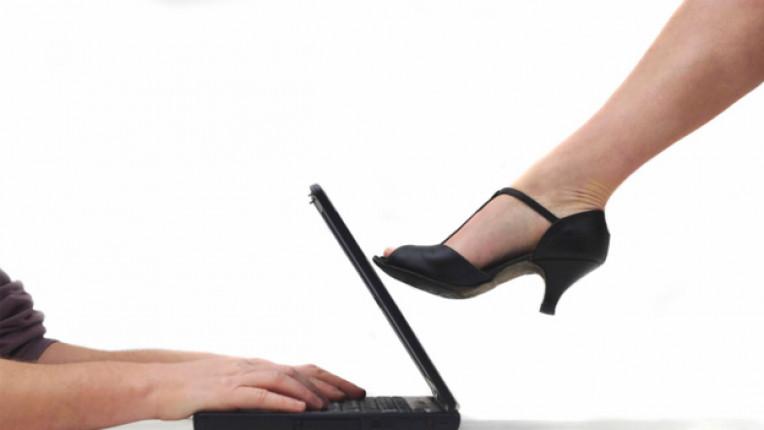 мъж жена компютър