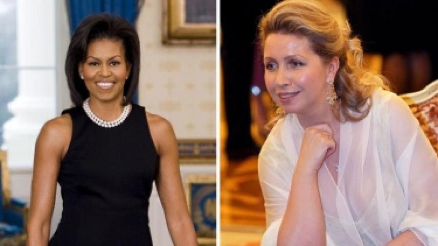 Мишел Обама (вляво) и Светлана Медведева (вдясно)