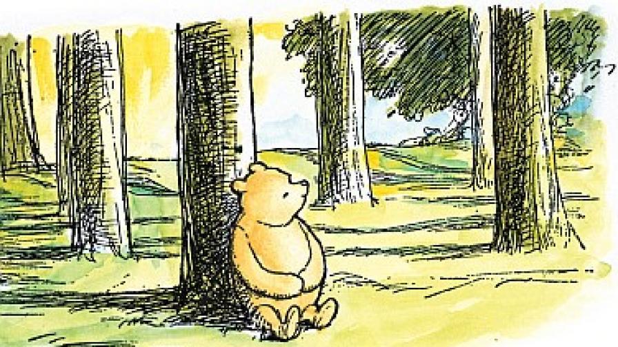 """""""Старият"""" Пух, нарисуван от илюстратора на оригинала Ърнест Х. Шепард"""