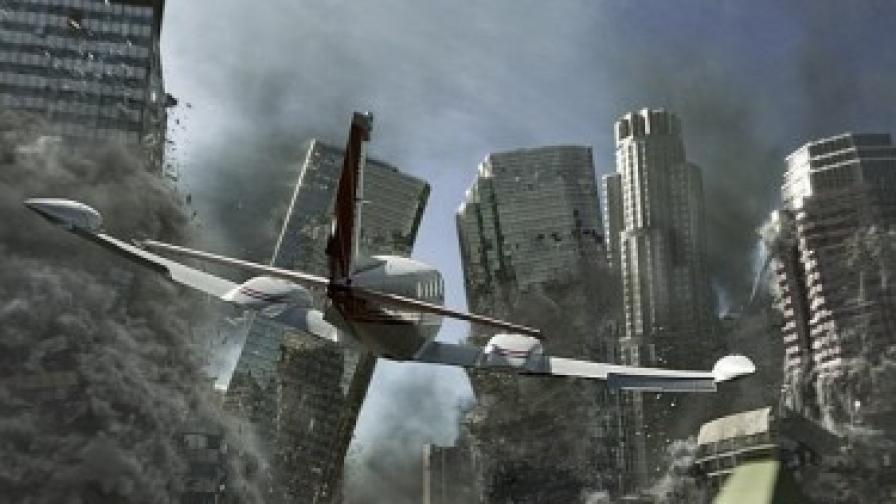 Героите бягат със самолет, докато земната повърхност буквално се разпада под тях