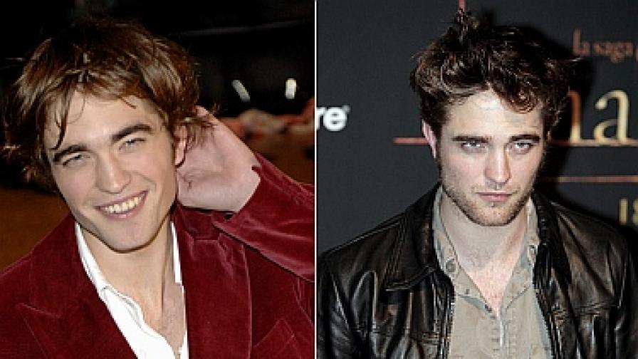"""Роб на премиерата на """"Хари Потър-4"""" през 2005 г. (вляво) и четири години по-късно"""