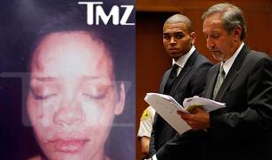 Пребитата Риана от сайта TMZ.com и Крис Браун в съда