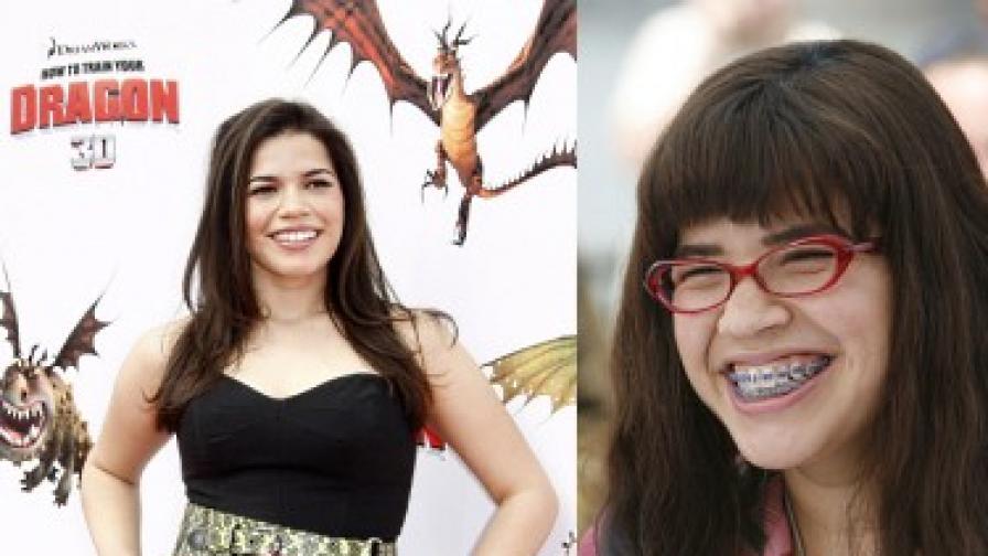 """Америка Ферера на премиерата на """"Как да си дресираш дракон"""" (вляво) и като Грозната Бети"""