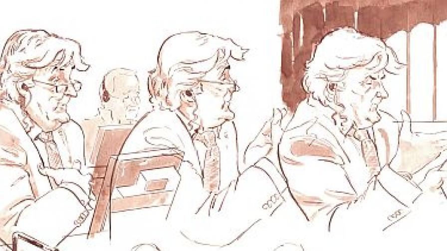 Рисунки от съдебната зала: Караджич се защитава сам по време на процеса