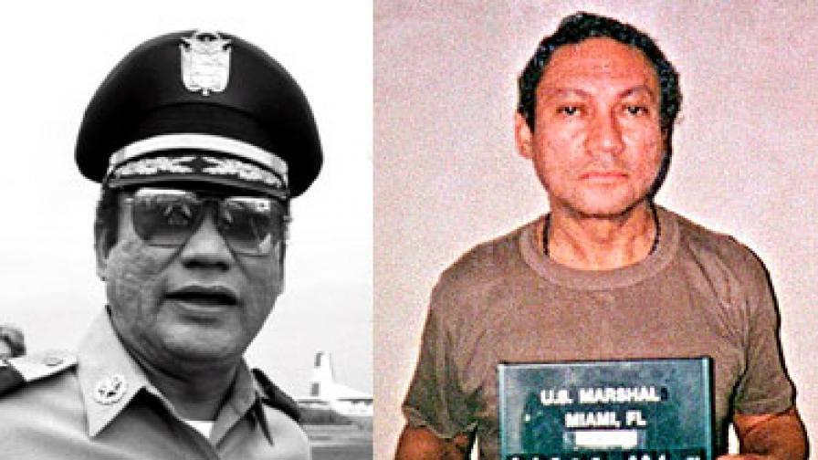 Бившият диктатор в добрите му времена – 1985 г. (вляво) и като арестант в САЩ в началото на януари 1990 г.