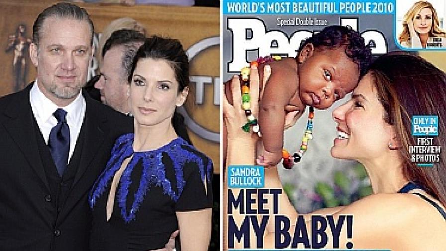 Сандра Бълок без мъж, но с бебе