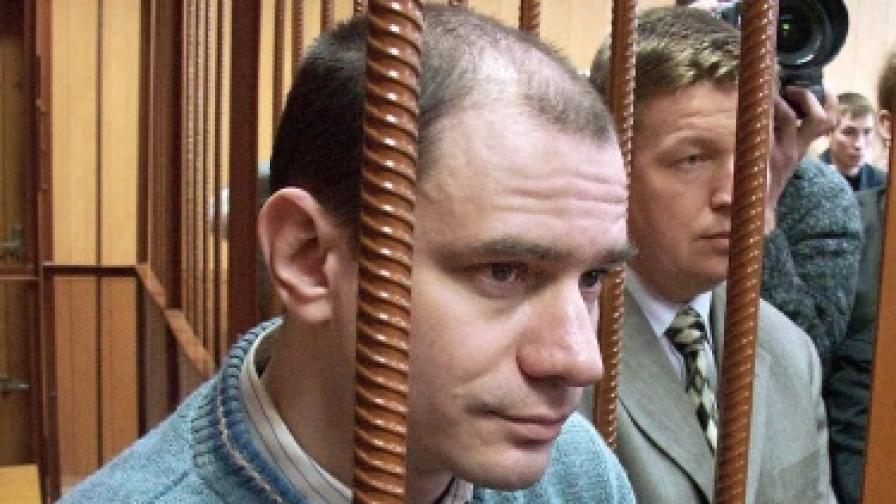 Игор Сутягин слуша присъдата си. На 7 април 2004 година той беше осъден на 15 години затвор по обвинения за шпионаш в полза за САЩ