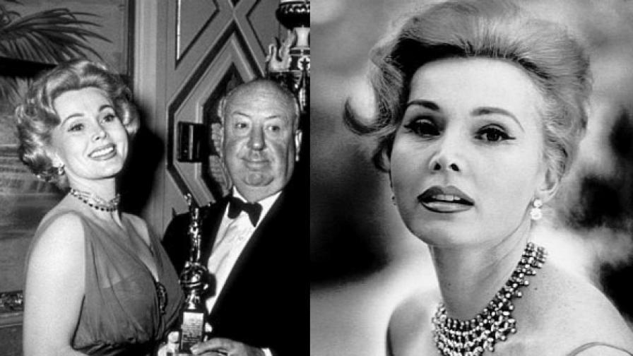 За За Габор през 50-те години на 20-и век (д) и с Алфред Хичкок