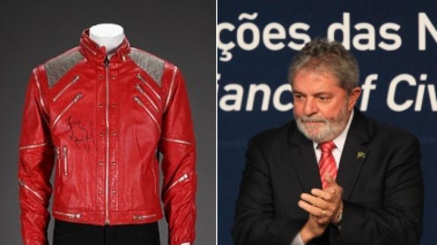 Едно от известните якета на Майкъл Джаксън (вляво) се продава, а костюмът на Лула да Силва вече е купен