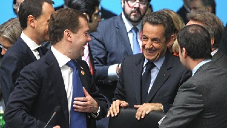 Дмитрий Медведев и Никола Саркози