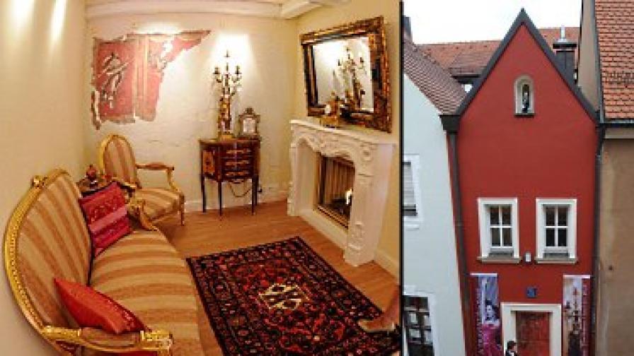 Стаята с камината (вляво) и фасадата на хотела