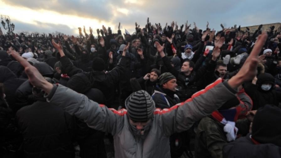 Безредици и бой с футболни фенове в Москва