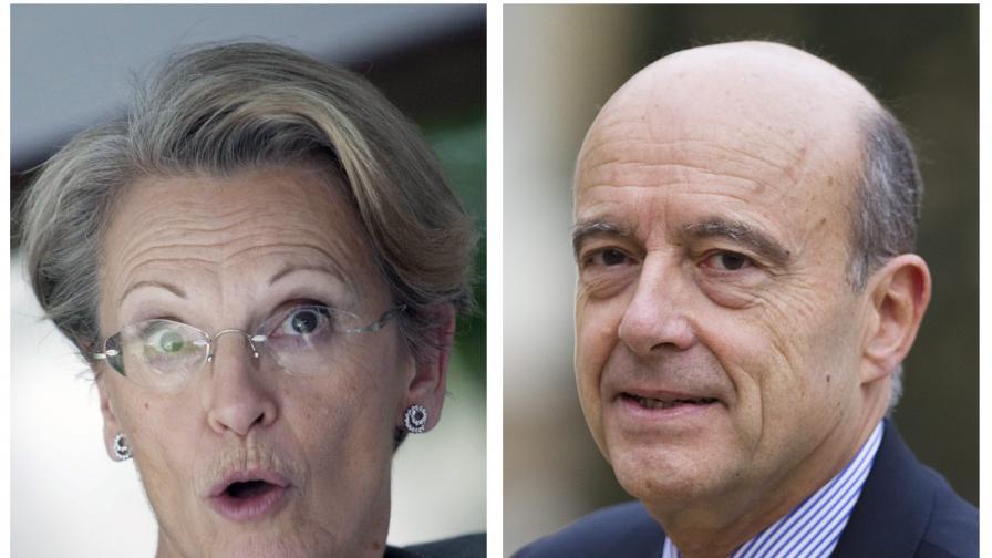 Бившата френска външна министърка и наследникът й на поста Ален Жупе