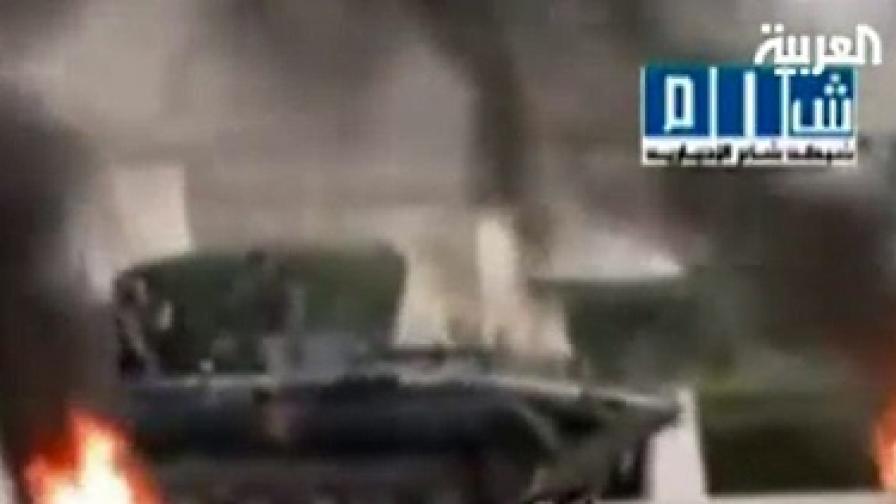 """Кадър от репортажа на телевизия """"Ал Арабия"""" за клането в Сирия"""
