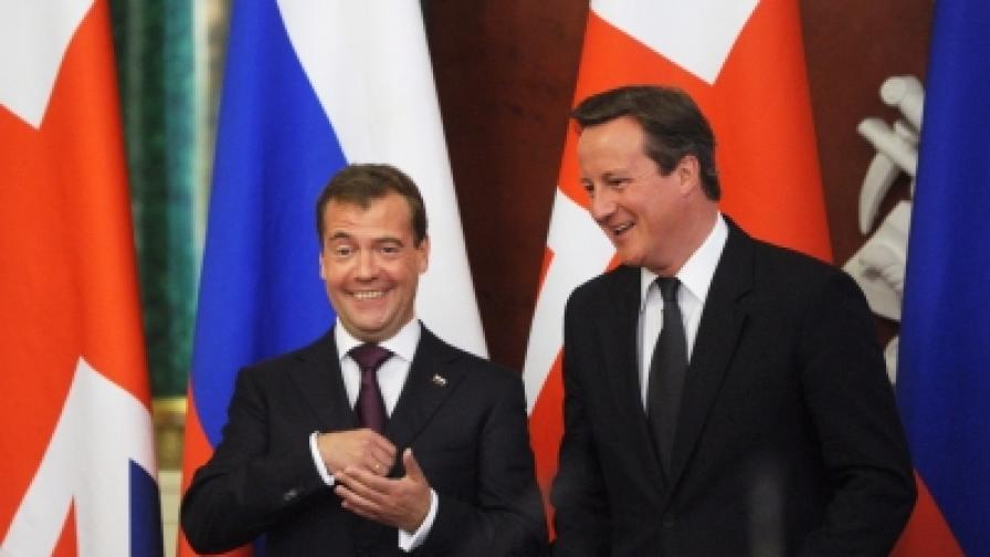 На общата пресконференция на Медведевп и Камерън не липсваха и шеги