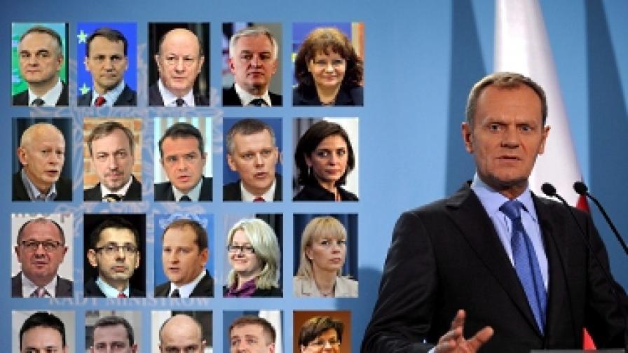 Доналд Туск и членовете на новото правителство
