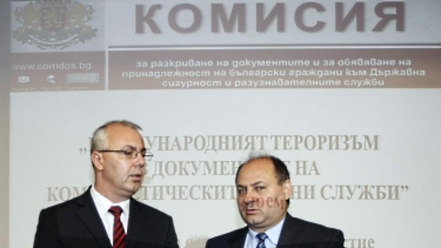 Евтим Костадинов (вдясно) и Веселин Вучков (вляво) преди конференцията