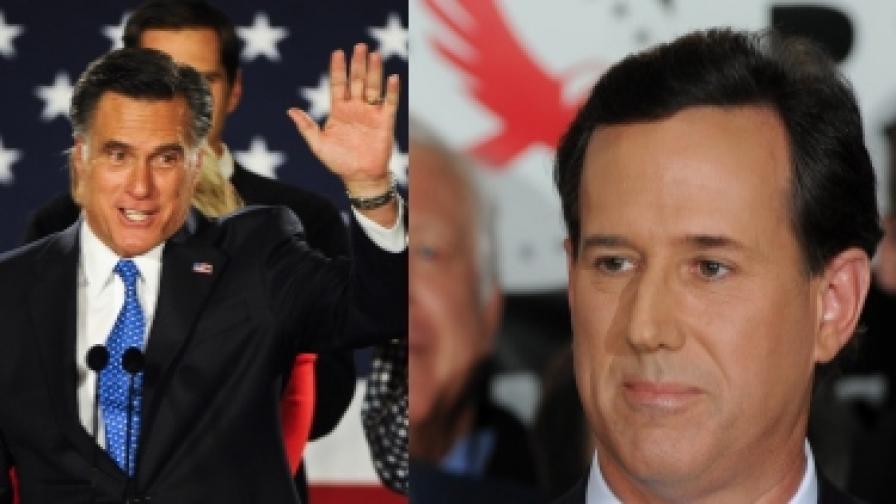 Мит Ромни (вляво) и Рик Санторъм