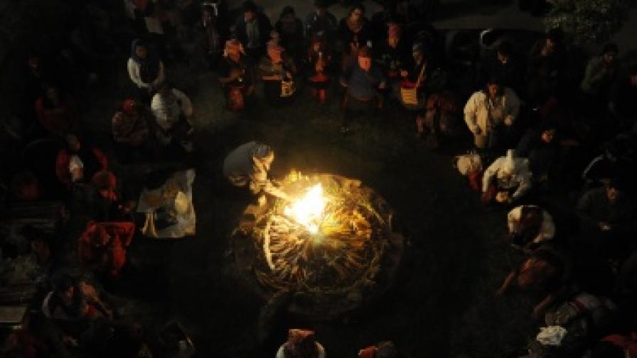 Участници в религиозна церемония за Нова година по календара на маите