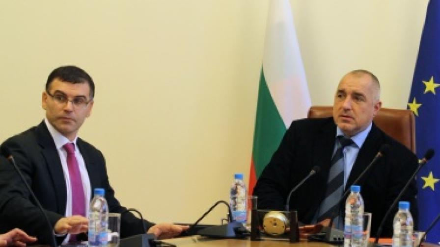 Премиерът Бойко Борисов и вицепремиерът Симеон Дянков по време на заседание на Министерския съвет