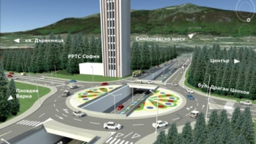 Проект на новото кръстовище на две нива при старата телевизионна кула в Борисовата градина
