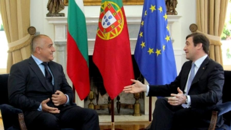 В Лисабон министър-председателят Бойко Борисов разговаря с португалския си колега Педро Пасош Коельо