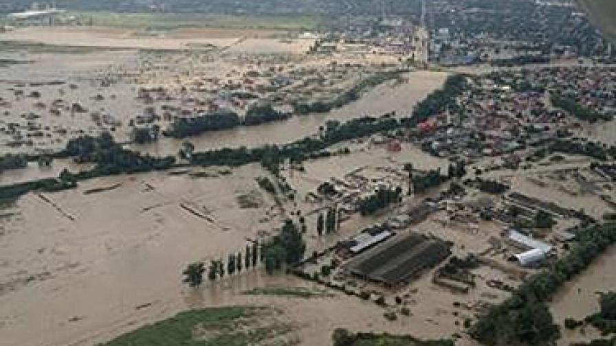 Снимка от въздуха на пострадалия район