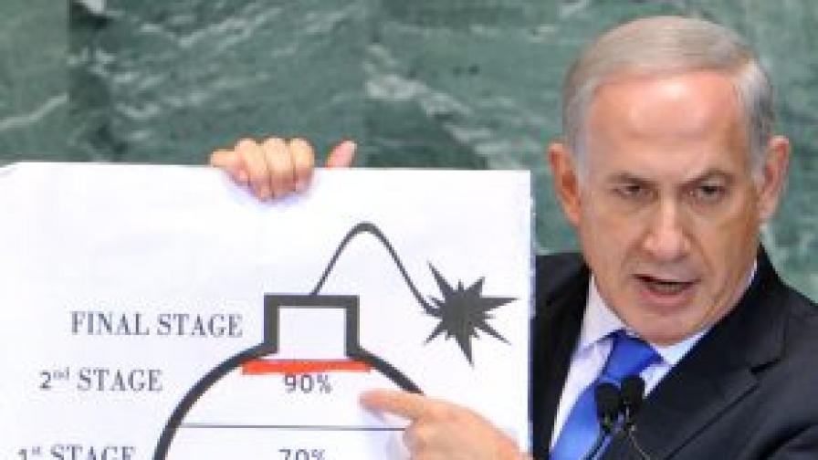 Нетаняху показа рисунка на бомба със запален фитил пред Общото събрание на ООН
