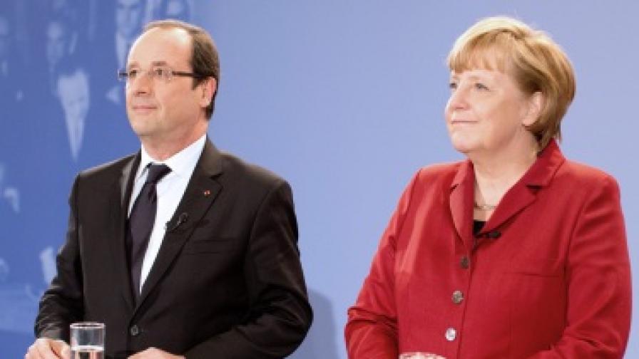 Френският президент Франсоа Оланд и германският канцлер Ангела Меркел
