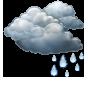 Overcast and light rain