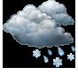 Облачно, кратък мокър сняг